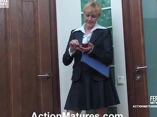 Horny aged ladyboss in sheer nylons getting banged on all her fours