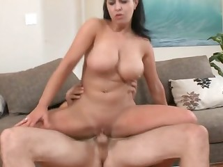 Massive dong makes horny breasty slut explode from orgasms