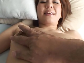 Pretty Oriental mother i'd corresponding to to fuck sucks on hard schlong and her hirsute cunt fingered