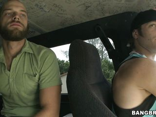 These two fucking dawgs are looking for a babe to nail in their filthy fuck-bus. As they were driving around the neighbor hood looking for a bitch, they were talking stuffs and suddenly they found some one. It's the 30 years old red head milf Cherry standing in the side walk. Bingo!!